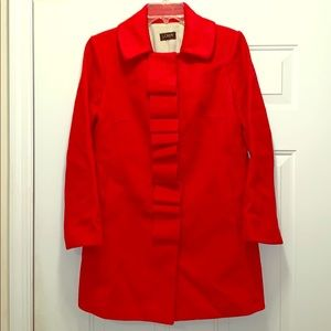 J Crew red wool Ruffle front coat EUC